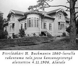 Kuva piirilääkäri H. Backmanini 1860-luvulla rakentamasta talosta.